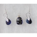 Beach Glass Jewelry Dark Blue Set