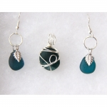 Beach Glass Jewelry  Dark Teal Set