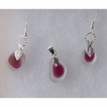 Beach Glass Jewelry Pink & White Set